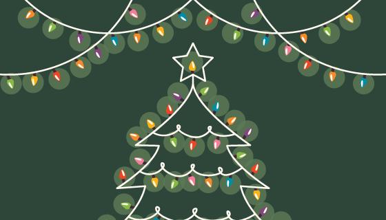 小灯泡组成的圣诞树矢量素材(EPS/AI)