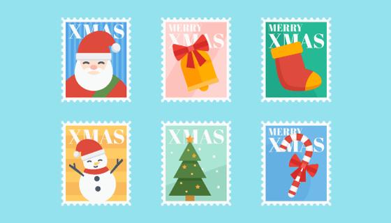 圣诞节多彩邮票矢量素材(EPS/AI/PNG)
