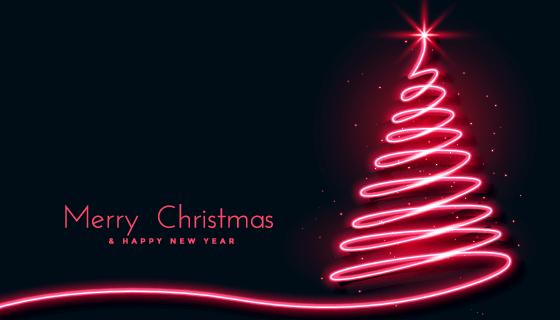 红色霓虹灯圣诞树背景矢量素材(EPS)