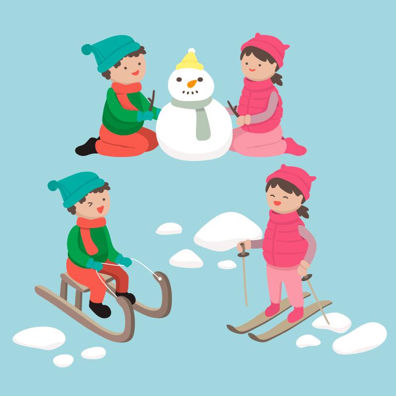 冬天滑雪堆雪人的孩子们矢量素材(EPS/AI/免扣PNG)