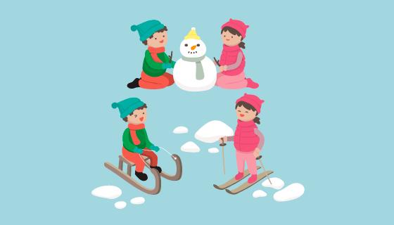冬天滑雪堆雪人的孩子们矢量素材(EPS/AI/PNG)