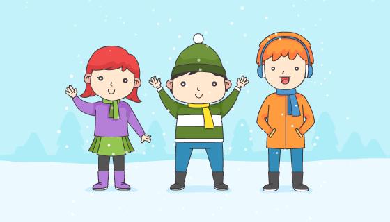 冬天里的孩子们矢量素材(EPS/AI/PNG)