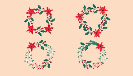 漂亮的圣诞花环矢量素材(EPS/AI/PNG)