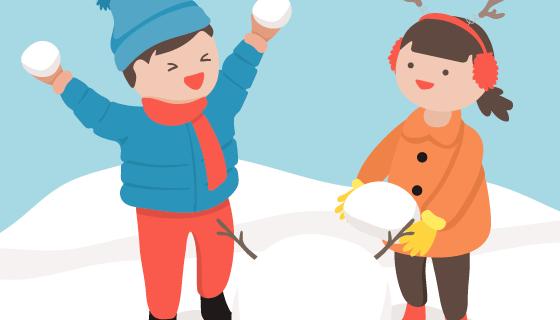 冬天里玩耍的孩子们矢量素材(EPS/AI)