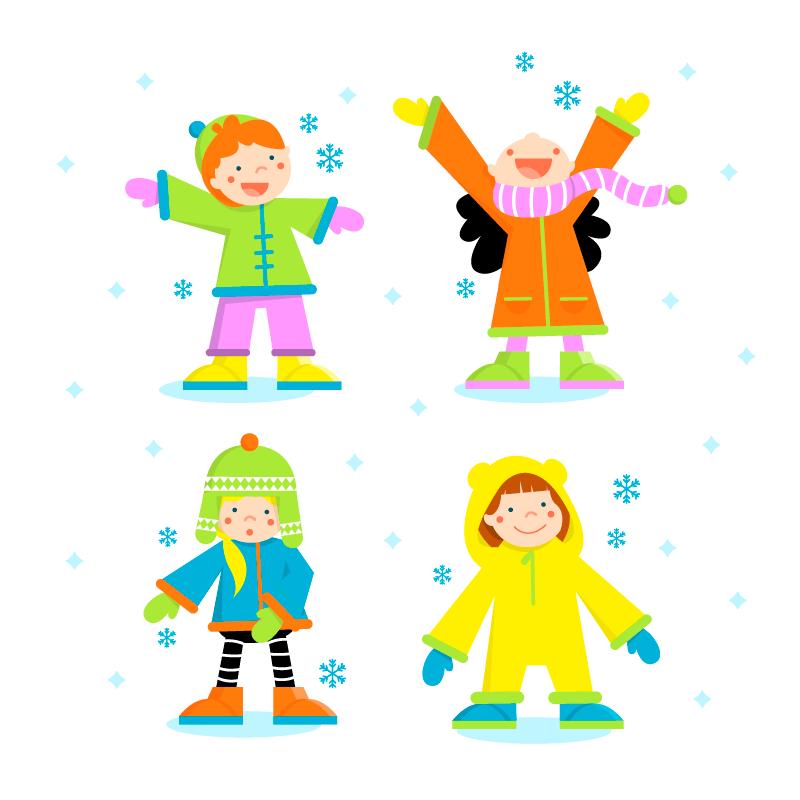 冬天里玩耍的孩子们矢量素材(EPS/AI/免扣PNG)
