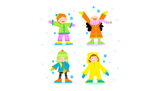 冬天里玩耍的孩子们矢量素材(EPS/AI/PNG)