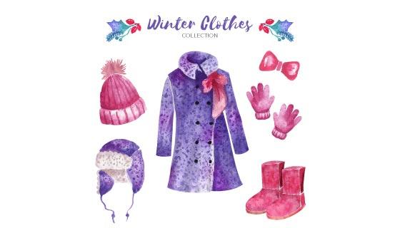 水彩风格冬天衣物和必需品矢量素材(eps/ai/png)
