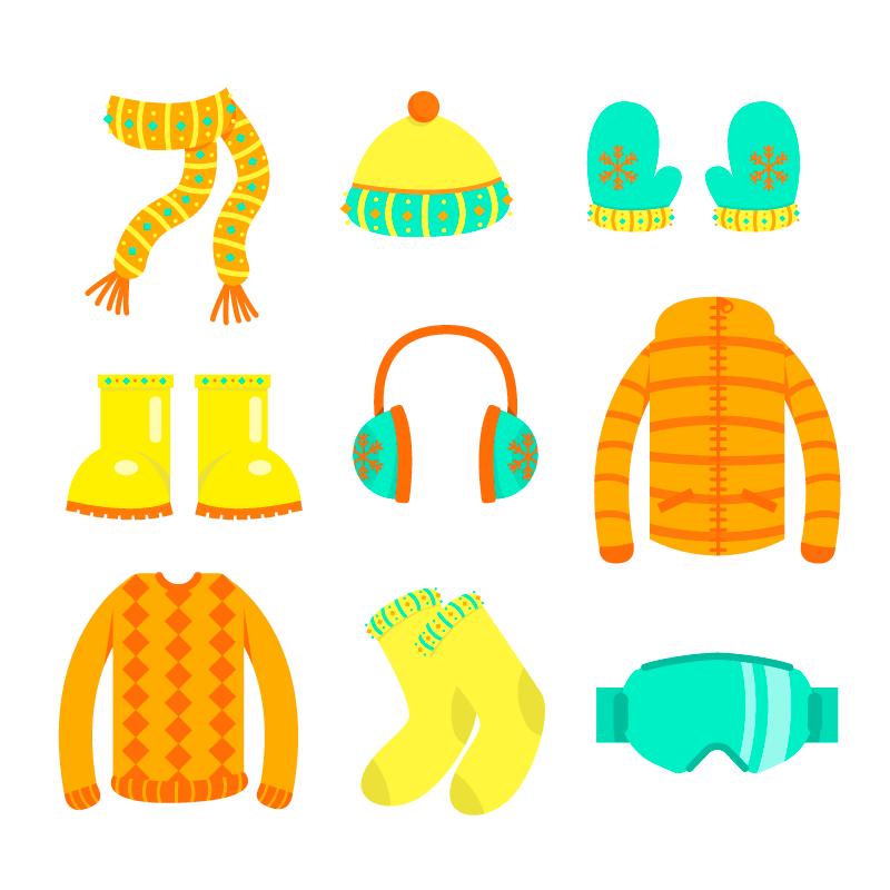 扁平风格冬天衣物和必需品矢量素材(eps/ai/png)