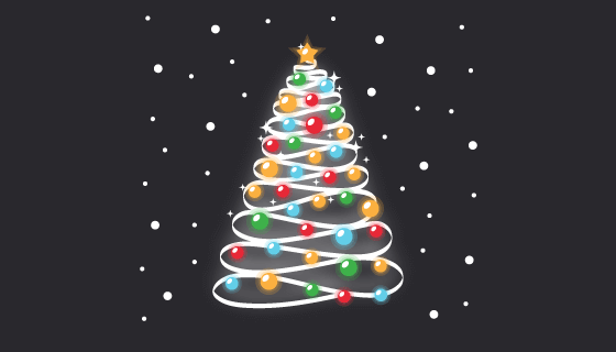 多彩灯泡组成的圣诞树矢量素材(EPS/AI/PNG)