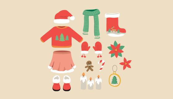 冬天衣物和圣诞装饰品矢量素材(EPS/AI/PNG)