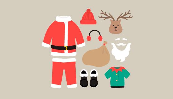扁平风格圣诞老人装备矢量素材(EPS/AI/PNG)