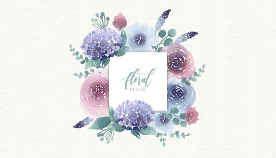 漂亮水彩花卉矢量素材(EPS/AI/PNG)