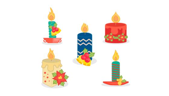 创意多彩圣诞节蜡烛矢量素材(EPS/AI/PNG)