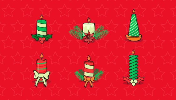 手绘多彩圣诞节蜡烛矢量素材(EPS/AI/PNG)
