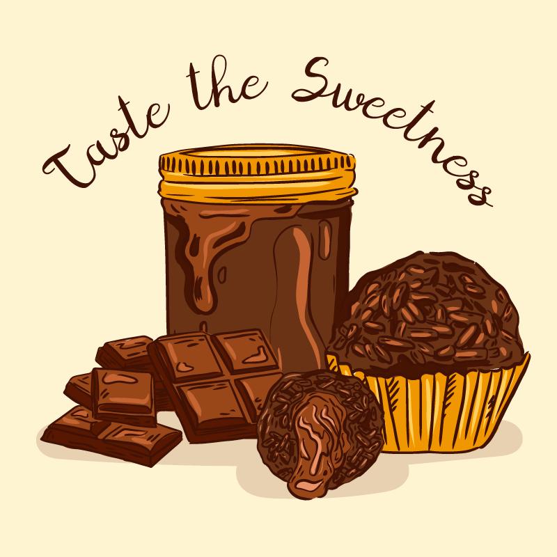 手绘的美味巧克力矢量素材(EPS/AI/免扣PNG)