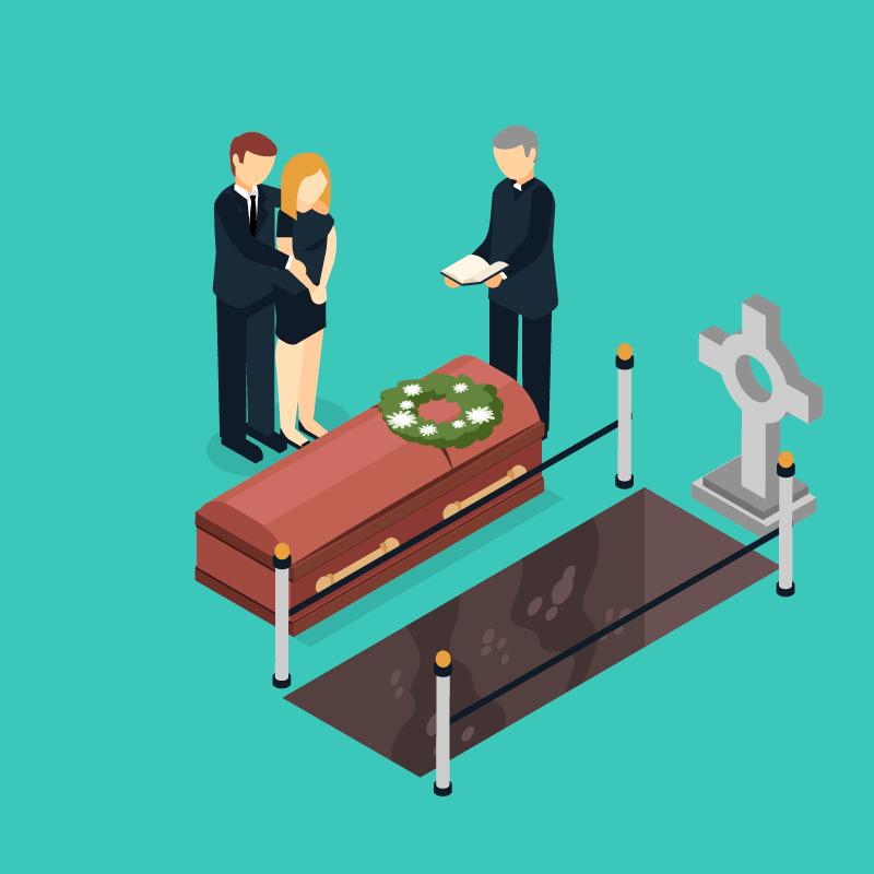 扁平风格葬礼设计矢量素材(EPS/AI)