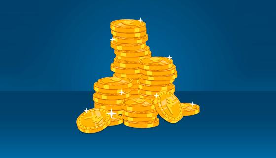 闪闪发光的金币矢量素材(EPS/AI/PNG)