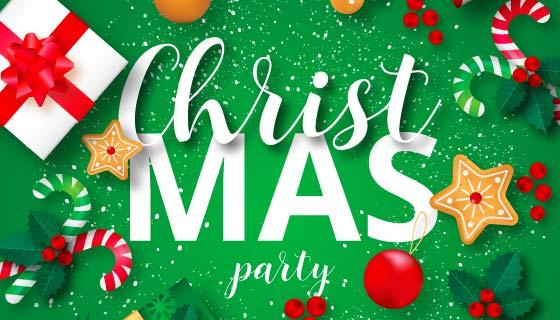 圣诞节派对海报矢量素材(EPS)