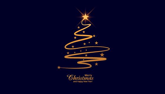 美丽的光线圣诞树背景矢量素材(EPS)