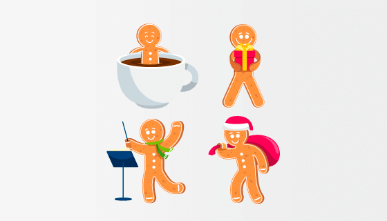 可爱的姜饼人矢量素材(EPS/AI/PNG)