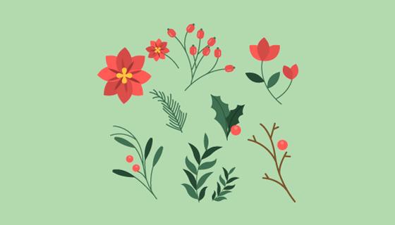 扁平风格冬季花卉矢量素材(EPS/AI/PNG)
