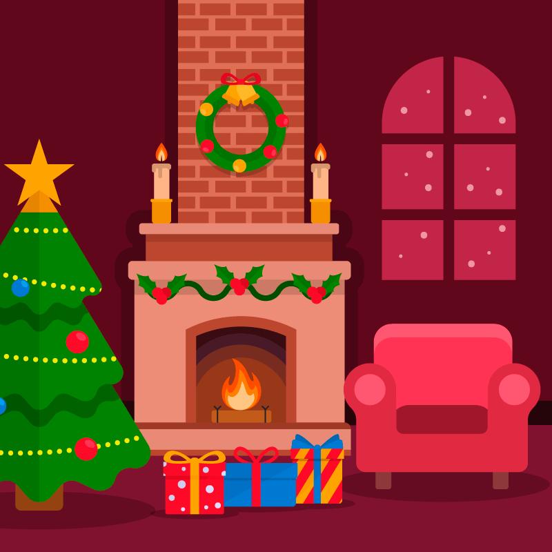扁平风格圣诞壁炉背景矢量素材(EPS/AI)