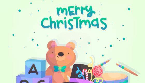 手绘圣诞节玩具背景矢量素材(EPS/AI)