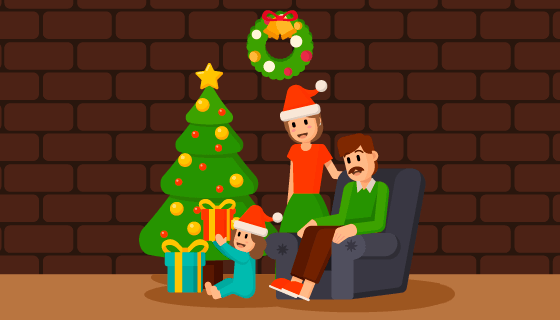一家人庆祝圣诞节矢量素材(EPS/AI)