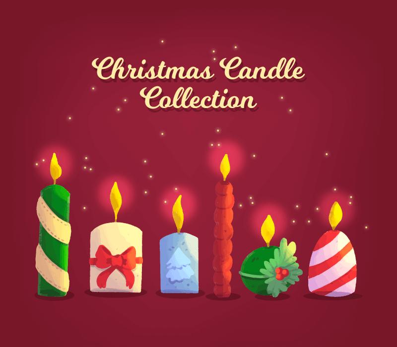手绘圣诞节蜡烛矢量素材(EPS/AI/免扣PNG)