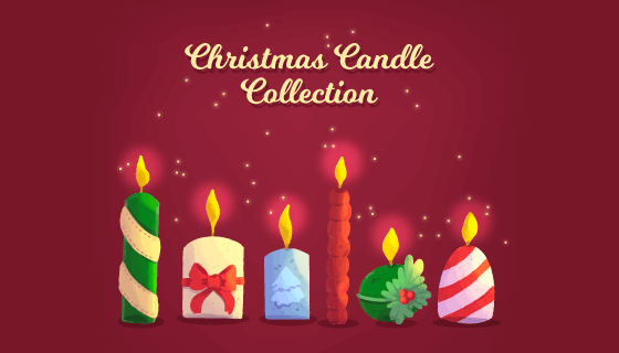 手绘圣诞节蜡烛矢量素材(EPS/AI/PNG)
