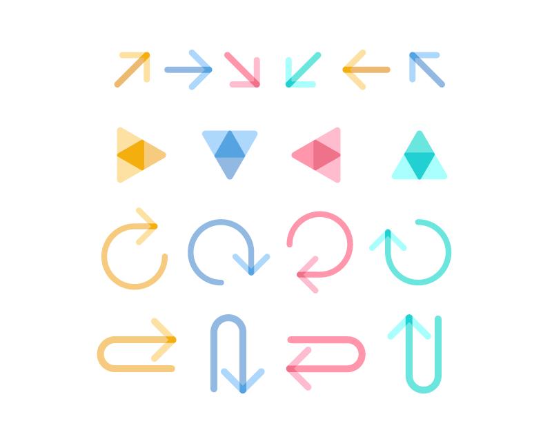 扁平风格彩色箭头矢量素材(EPS/AI/免扣PNG)