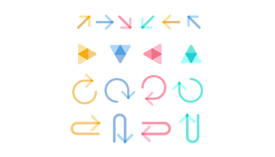 扁平风格彩色箭头矢量素材(EPS/AI/PNG)