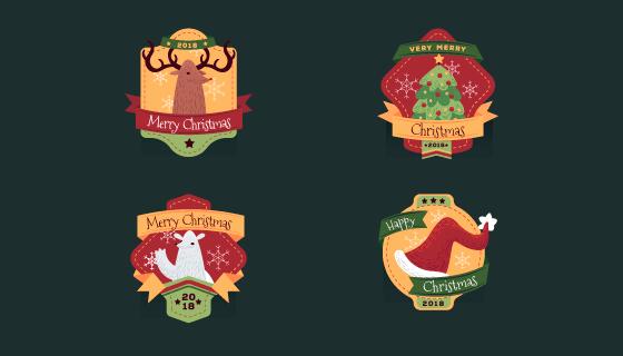 圣诞元素徽章矢量素材(EPS/AI/PNG)