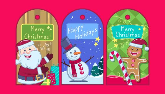 多彩的圣诞贺卡矢量素材(EPS/AI)