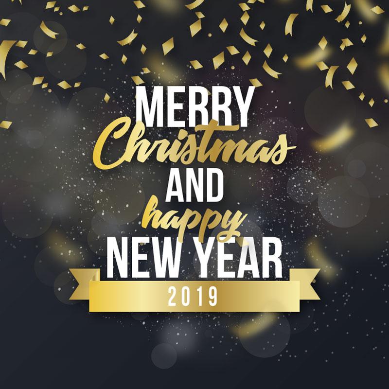 圣诞快乐和2019新年快乐背景矢量素材(EPS)