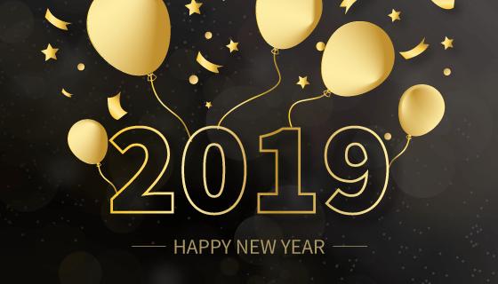 金色气球2019新年快乐背景矢量素材(EPS)