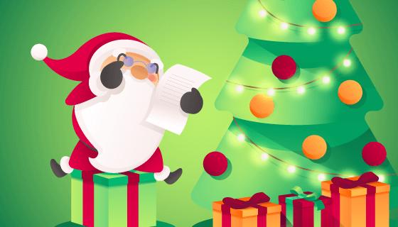 可爱的圣诞老人圣诞树背景矢量素材(EPS)