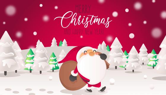 背着袋子走在雪地里的圣诞老人矢量素材(EPS)