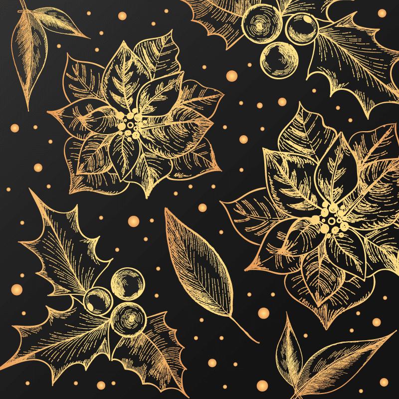 复古花卉圣诞节图案矢量素材(EPS)