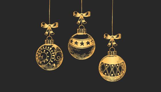 复古圣诞球圣诞节背景矢量素材(EPS/PNG)