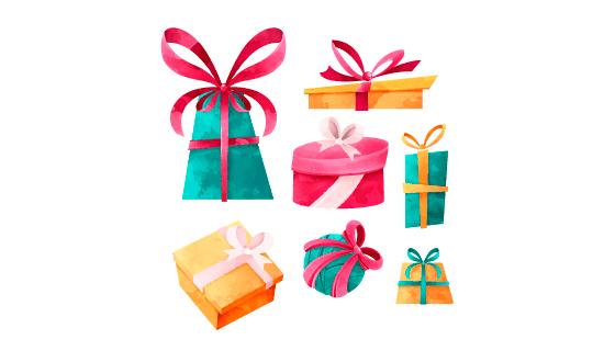 手绘圣诞节礼物矢量素材(EPS/AI/PNG)