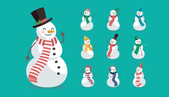 扁平风格圣诞雪人矢量素材(EPS/AI/PNG)