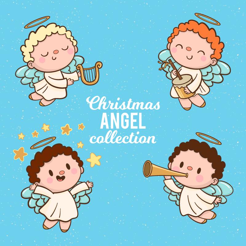 可爱的圣诞音乐天使矢量素材(EPS/AI/免扣PNG)