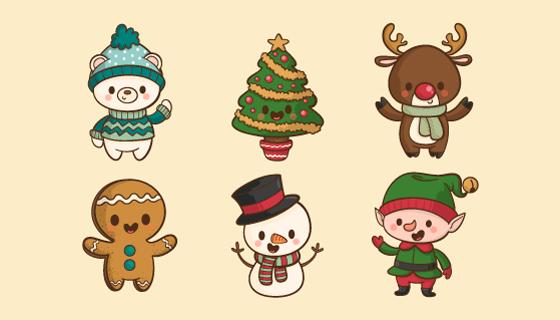 圣诞卡通人物矢量素材(EPS/AI/PNG)