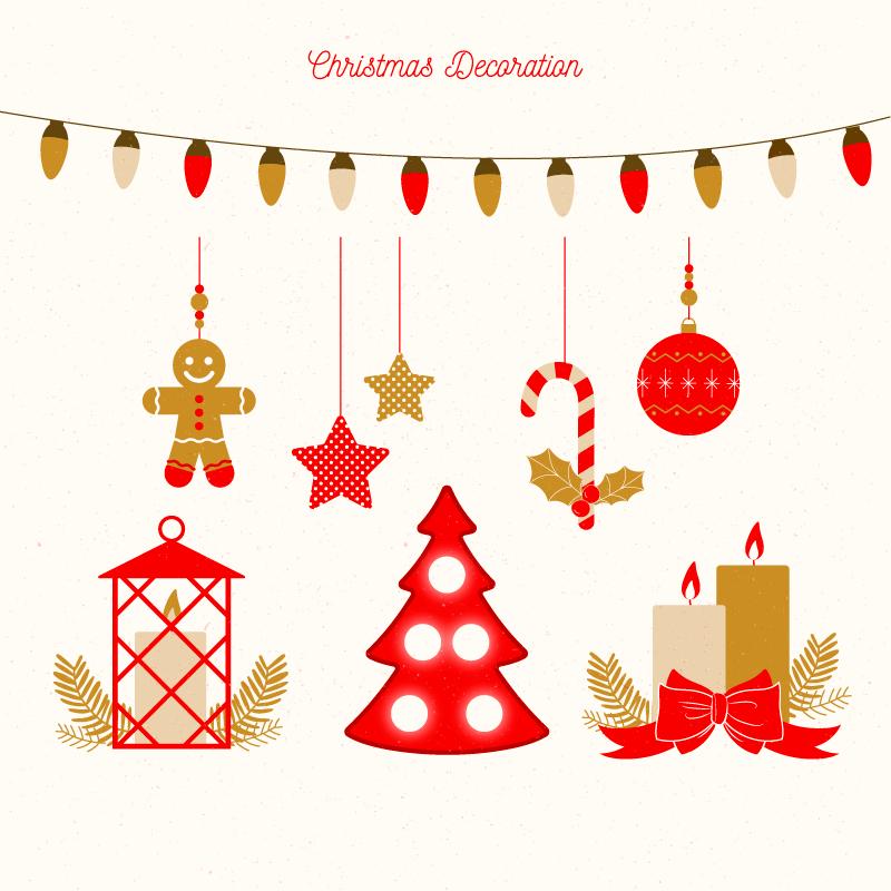 复古的圣诞节装饰矢量素材(EPS/AI/免扣PNG)