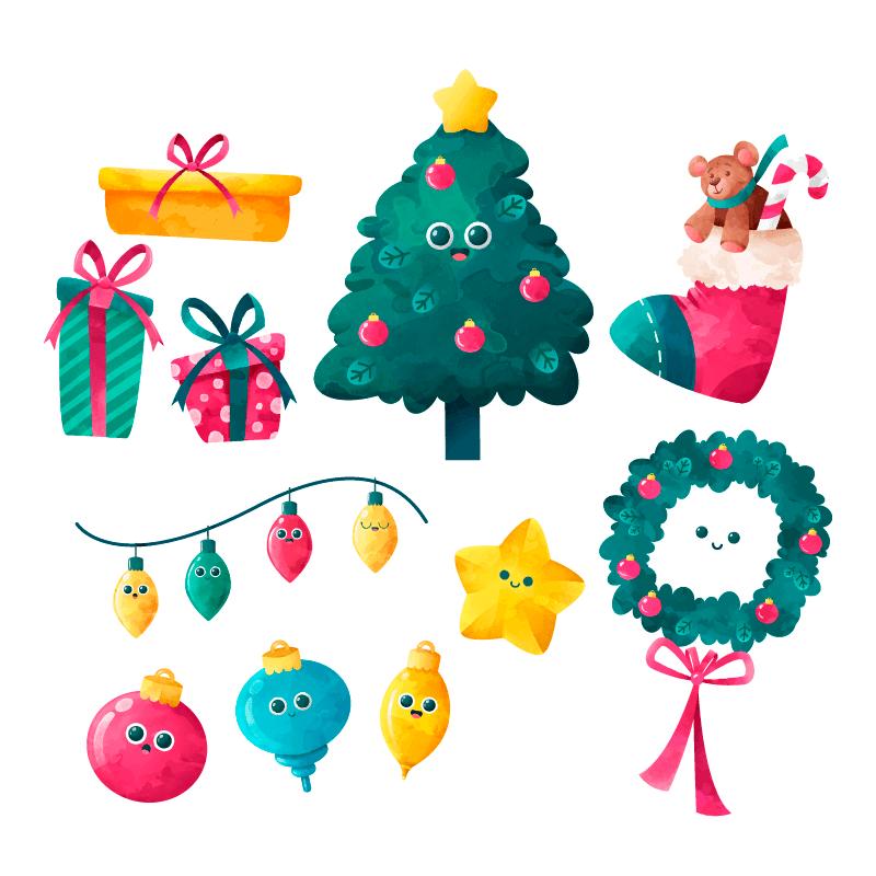 水彩风格的圣诞节装饰矢量素材(EPS/AI/免扣PNG)