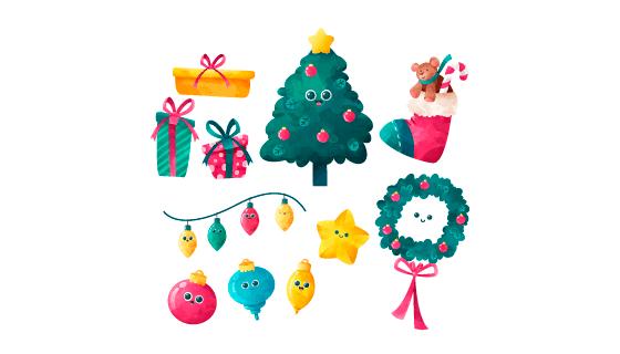 水彩风格的圣诞节装饰矢量素材(EPS/AI/PNG)