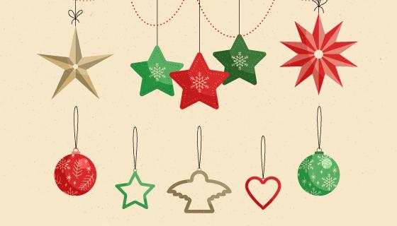 复古的圣诞节装饰矢量素材(EPS/AI/PNG)
