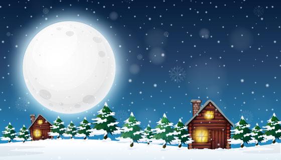 冬季夜晚乡村景观矢量素材(EPS)