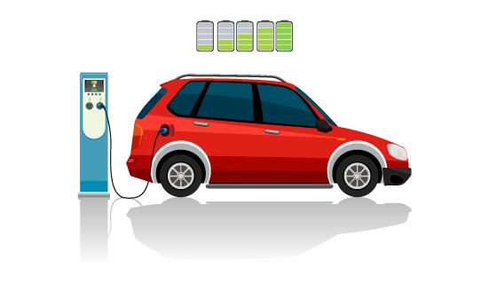 充电的红色电动车矢量素材(EPS)
